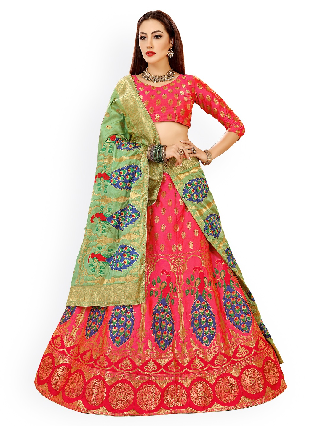 Chhabra 555 Pink & Green Embellished Semi-Stitched Lehenga & Unstitched Blouse with Dupatta Price in India
