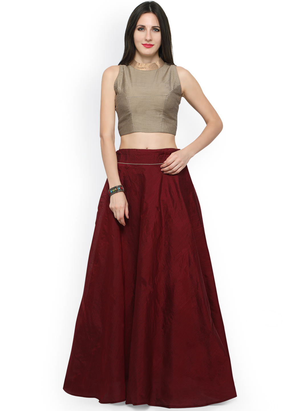 Inddus Maroon & Beige Chanderi Cotton Semi-Stitched Lehenga Choli Price in India