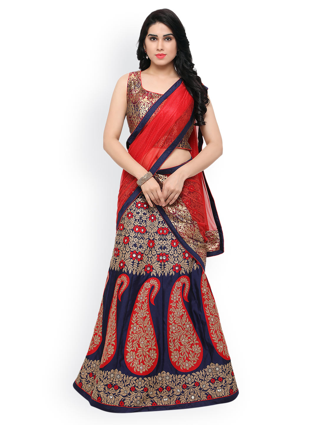 Styles Closet Blue Patterned Taffeta Lehenga Choli with Dupatta Price in India