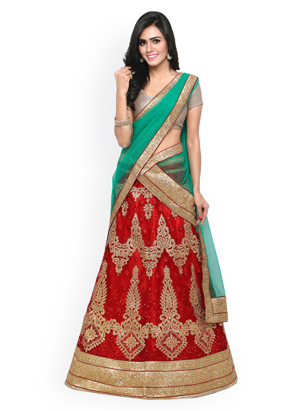 Rajesh Silk Mills Red & Beige Embroidered Unstitched Lehenga Choli with Dupatta Price in India