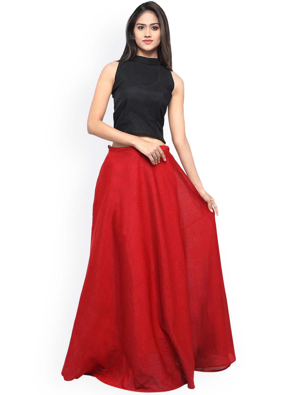 Inddus Red & Black Semi-Stitched Lehenga Choli Price in India
