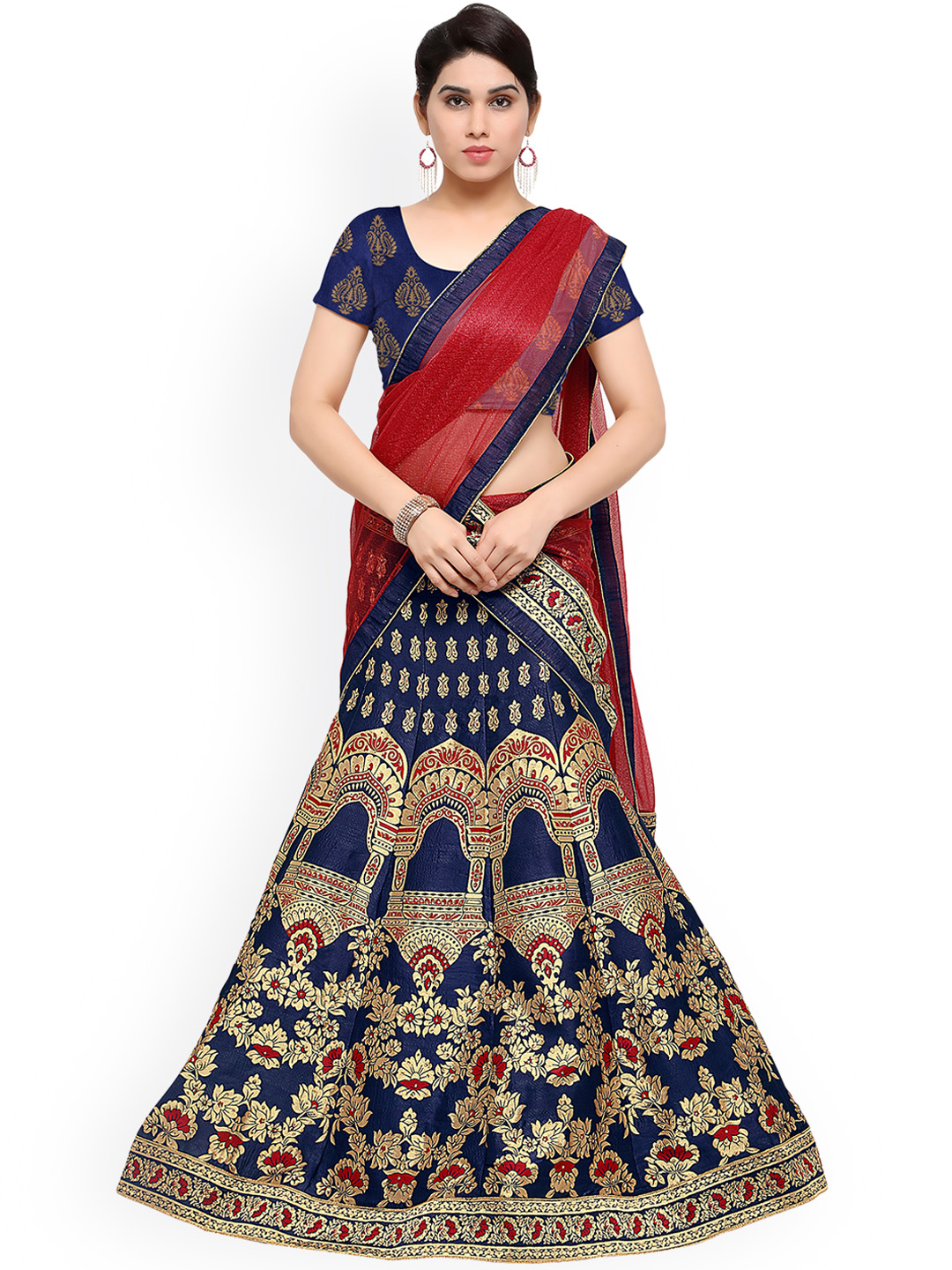 Styles Closet Blue Patterned Jacquard Lehenga Choli with Dupatta Price in India