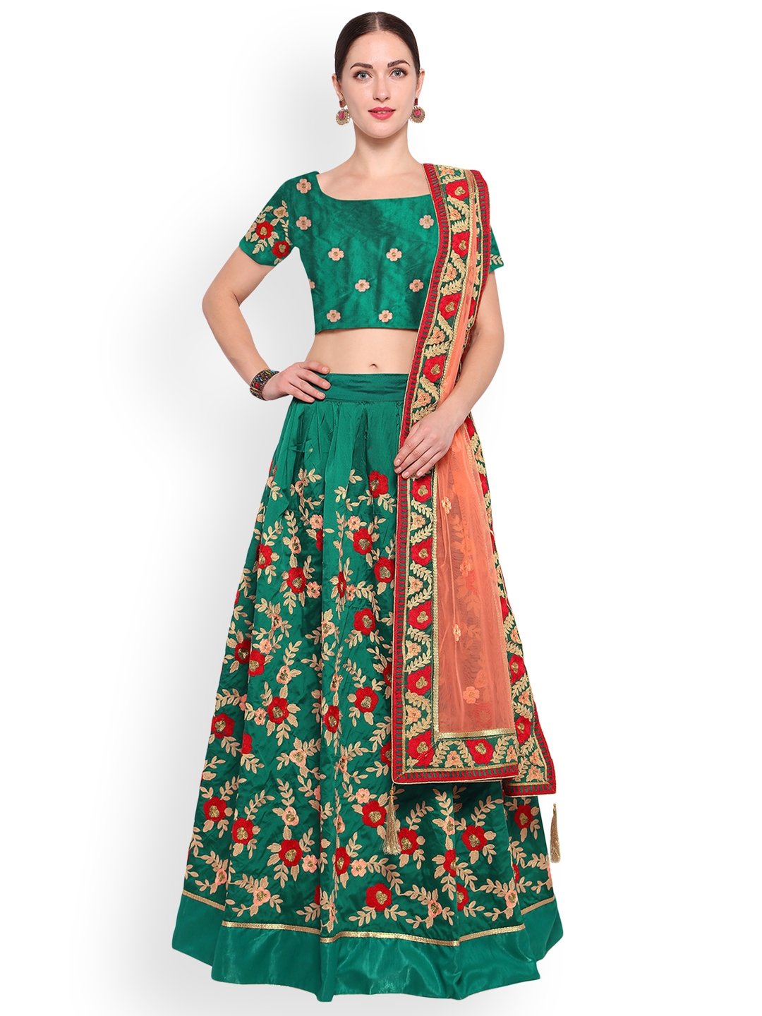 Styles Closet Green & Pink Embroidered Semi-Stitched Lehenga & Unstitched Blouse with Dupatta Price in India