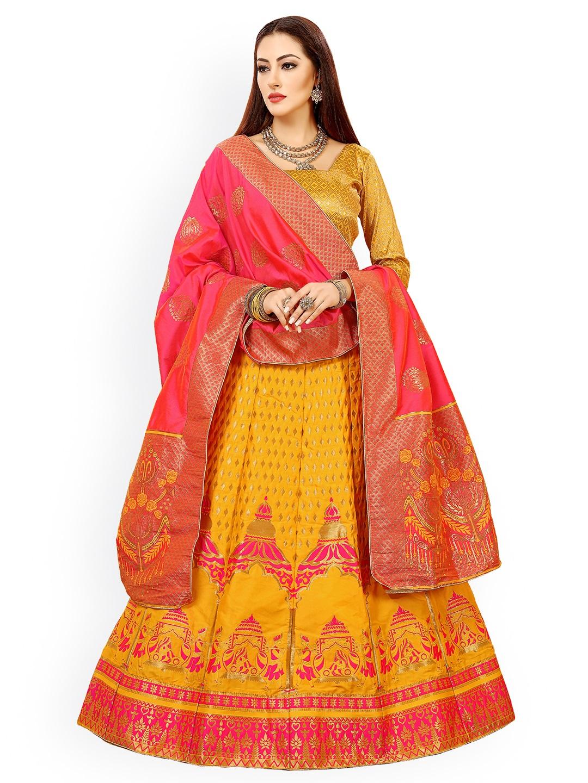 Chhabra 555 Yellow & Pink Banarasi Silk Lehenga & Unstitched Blouse with Dupatta Price in India