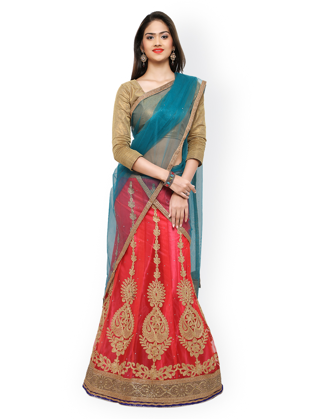 Rajesh Silk Mills Pink & Brown Embroidered Net Semi-Stitched Lehenga Choli with Dupatta Price in India