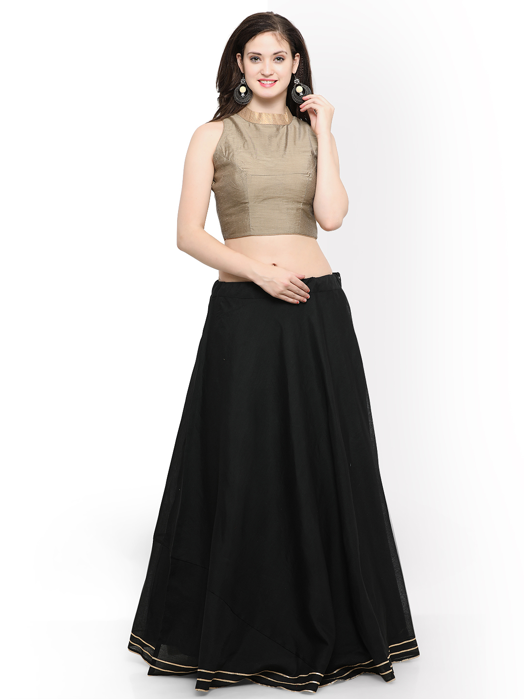 Inddus Black & Beige Semi-Stitched Lehenga with Blouse Price in India
