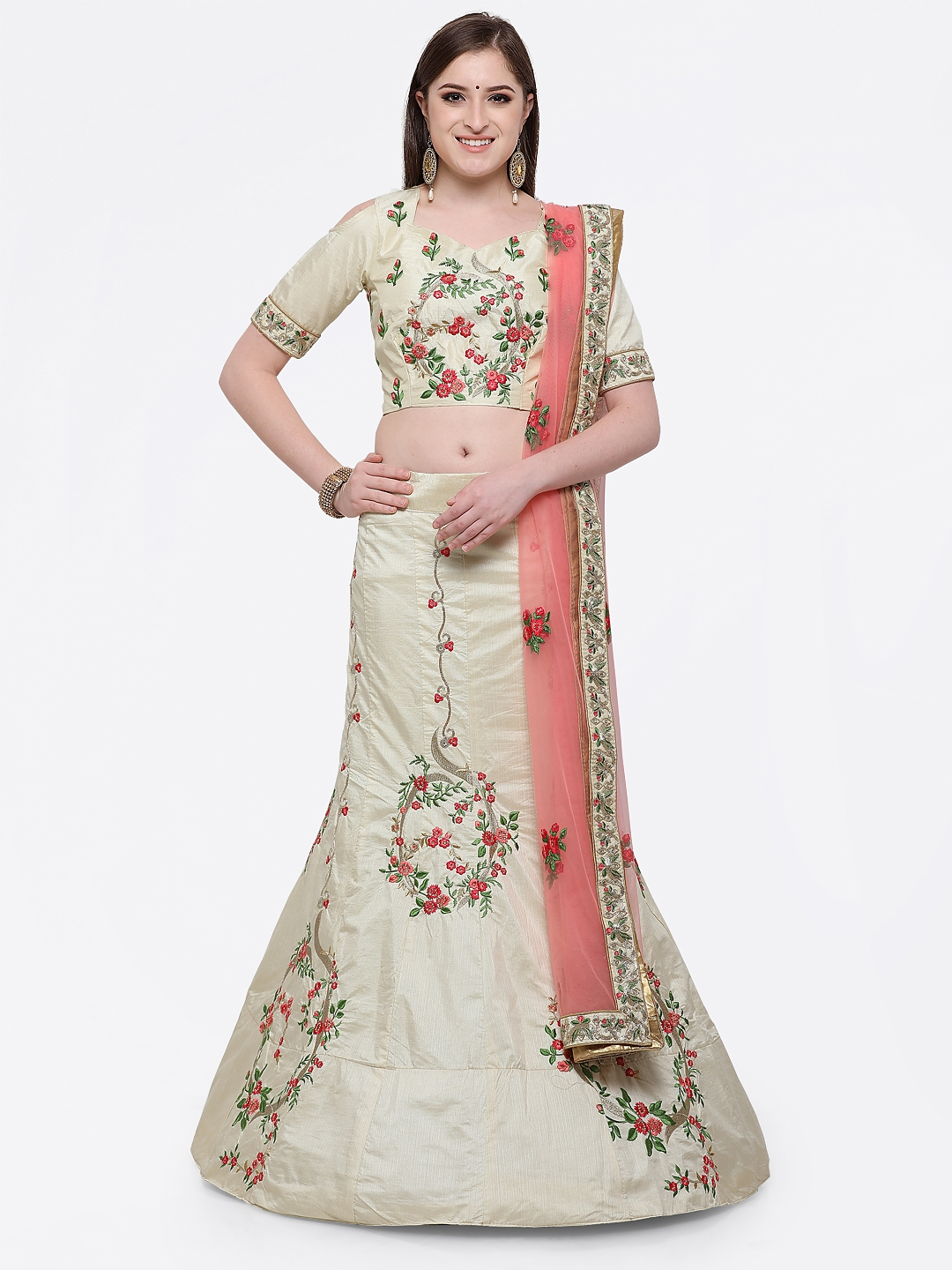 Aasvaa Off-White Semi-Stitched Lehenga & Blouse with Dupatta Price in India
