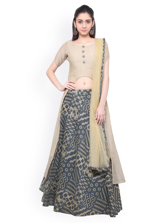 Inddus Grey & Beige Semi-Stitched Lehenga Choli with Dupatta Price in India