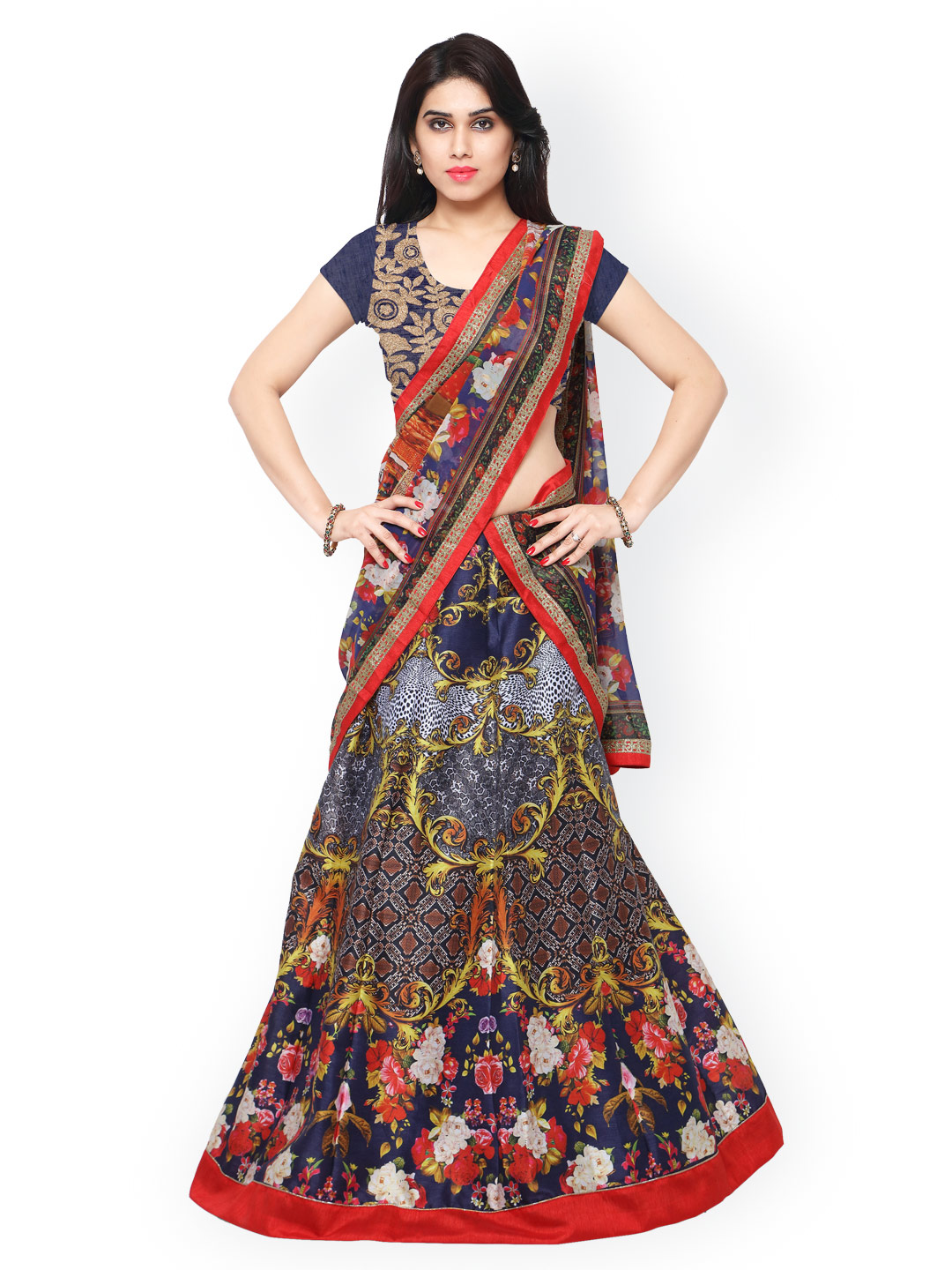 Saree mall Multicoloured Printed Semi-Stitched Lehenga Choli with Dupatta Price in India