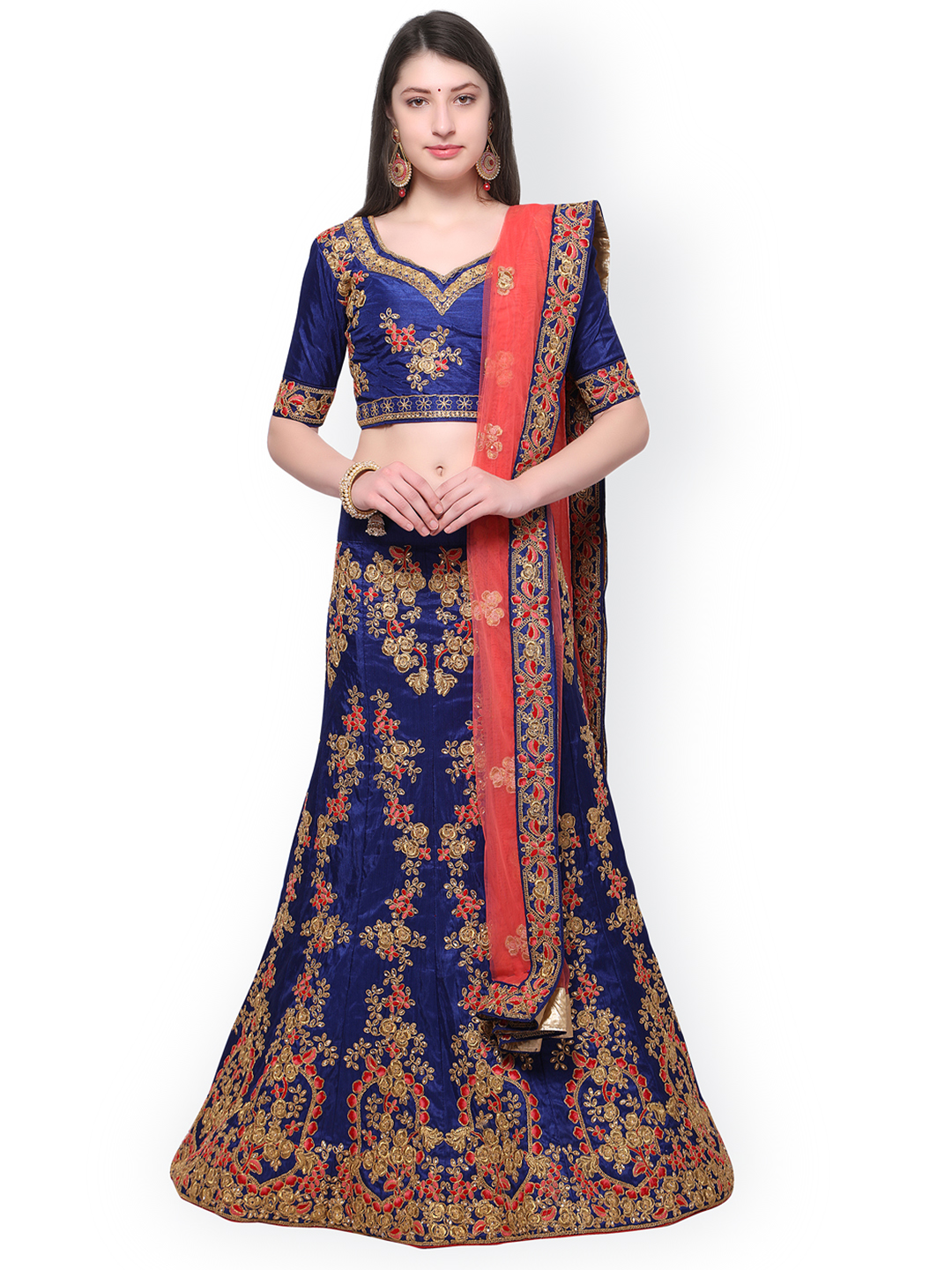 Aasvaa Navy Blue & Coral Embroidered Semi-Stitched Lehenga & Blouse with Dupatta Price in India