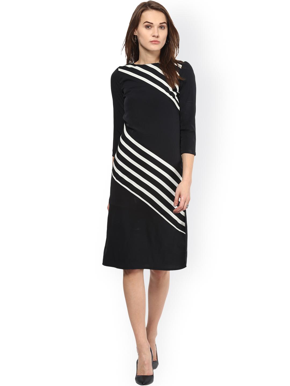 Harpa Black Printed Sheath Dress Price in India
