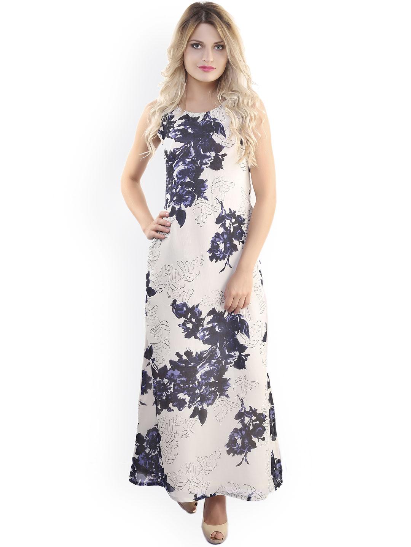 878887916c25 Belle Fille Cream-Coloured   Blue Polyester Georgette Maxi Dress