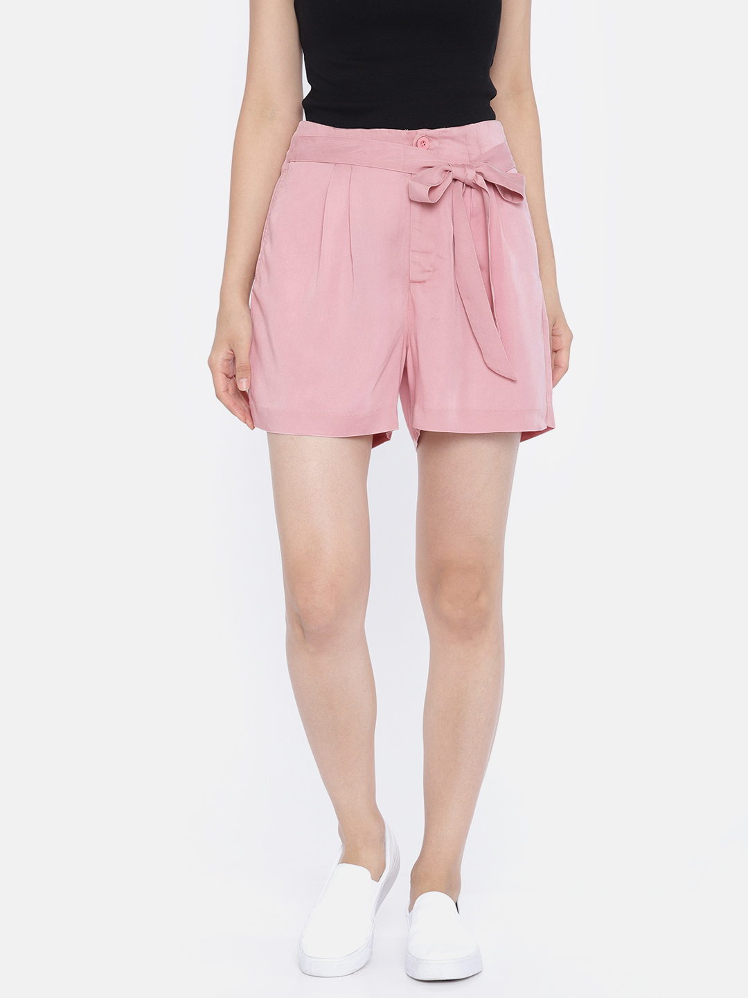 Vero Moda Women Pink Solid Regular Fit Shorts Price in India