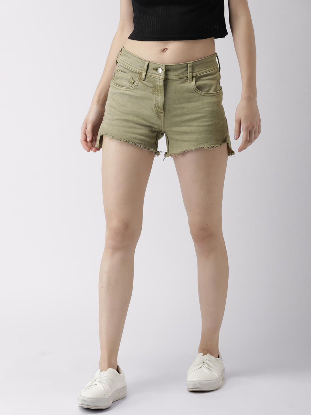 Mast & Harbour Women Grey Solid Regular Fit Denim Shorts Price in India