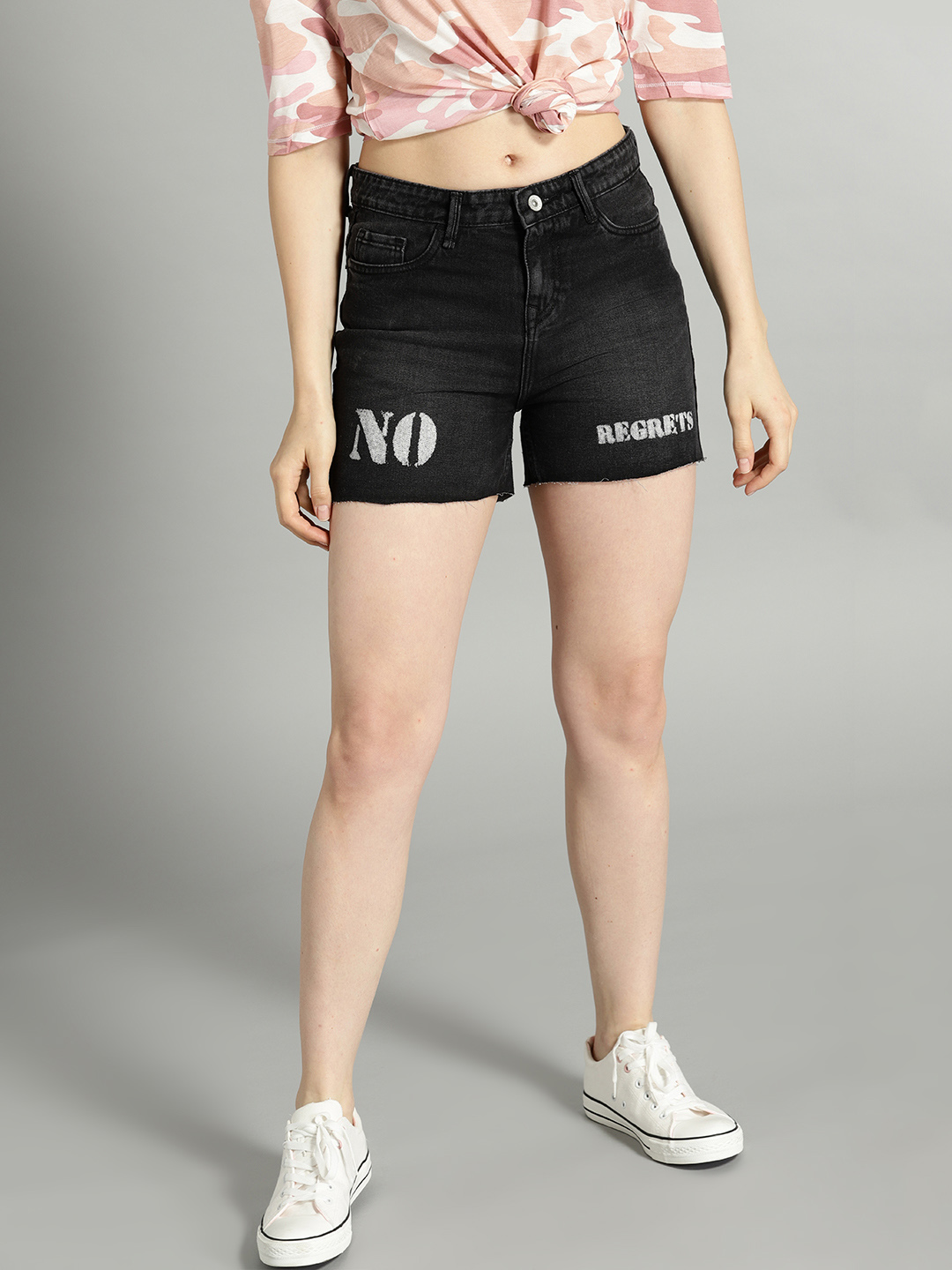 Roadster Time Travlr Women Black Washed Regular Fit Denim Shorts Price in India