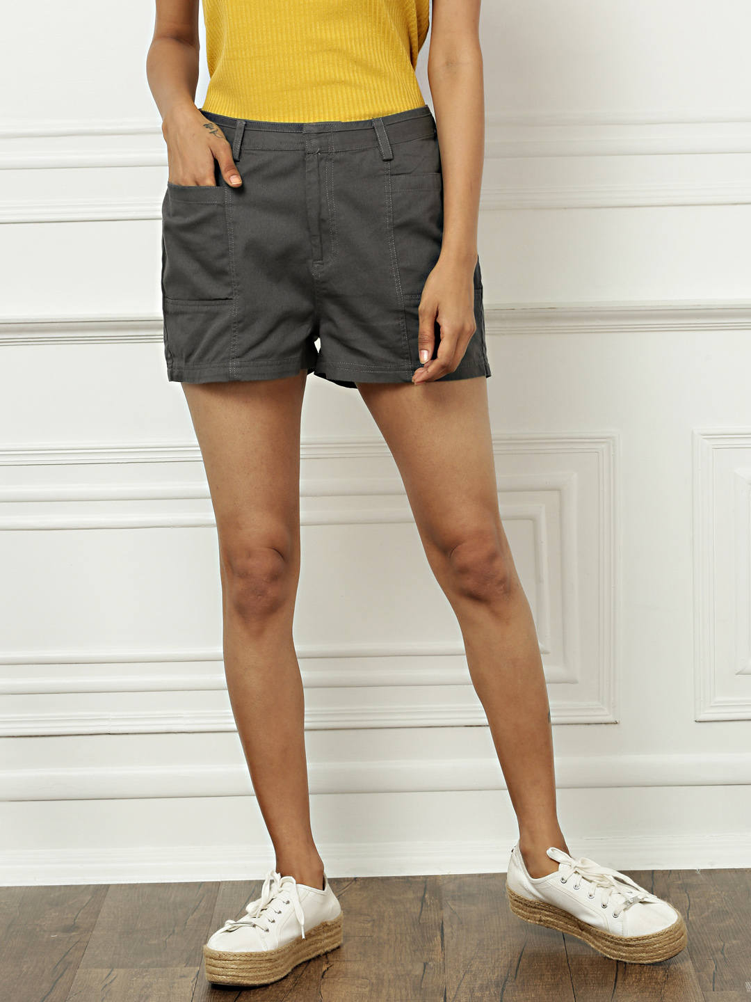 all about you from Deepika Padukone Women Charcoal Grey Solid Regular Fit Regular Shorts Price in India