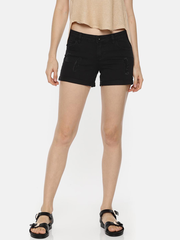 Vero Moda Women Black Washed Slim Fit Distressed Denim Shorts Price in India