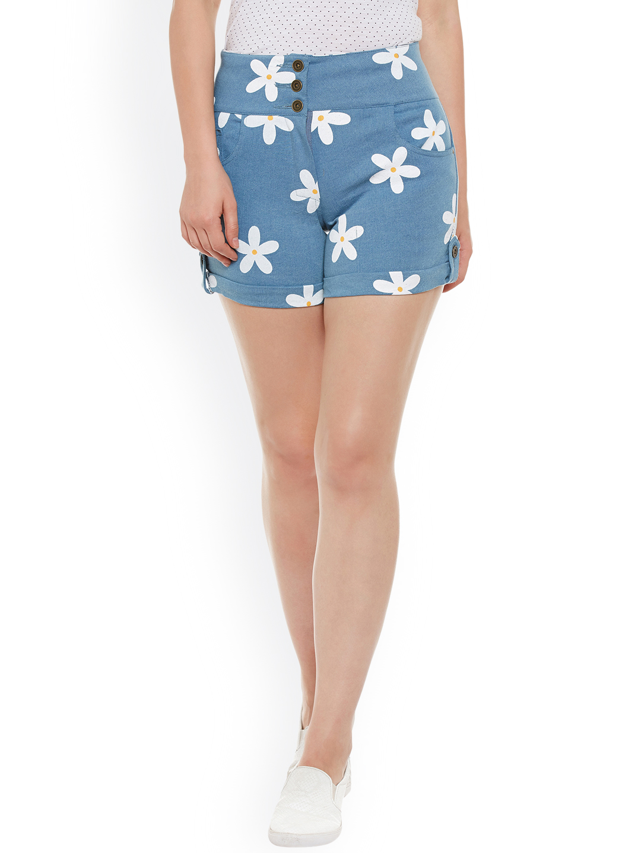 Rider Republic Women Blue Printed Slim Fit Denim Shorts Price in India