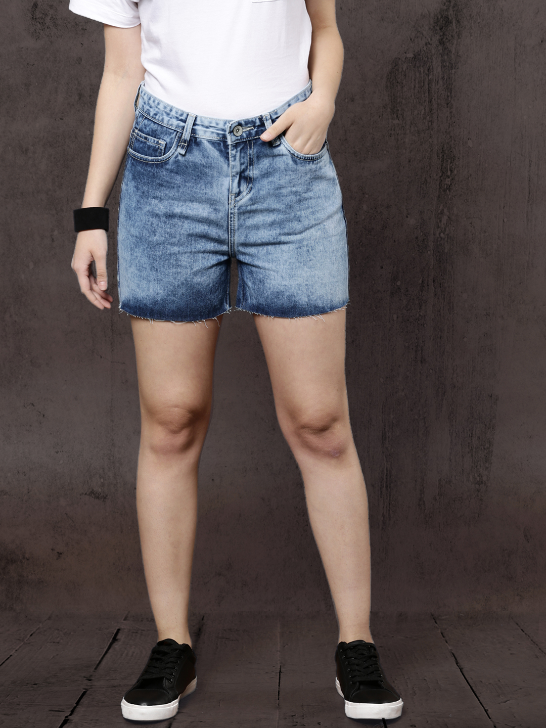 Roadster Women Blue Washed Regular Fit Denim Shorts Price in India