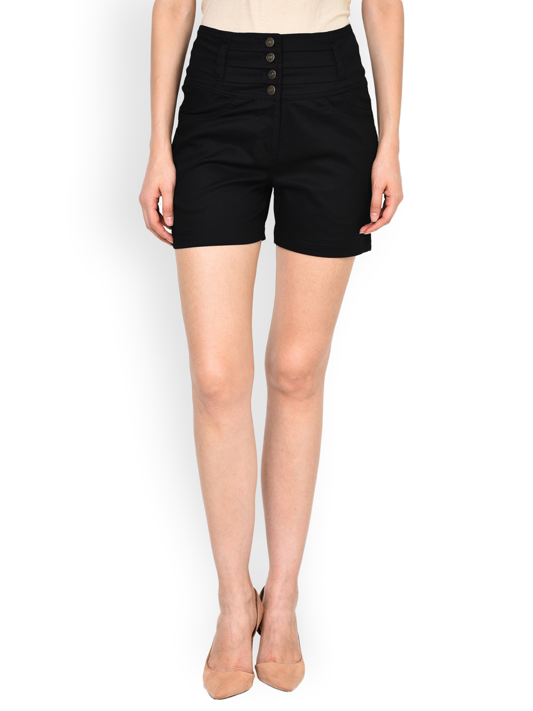 Castle Women Black Solid Regular Fit Chino Shorts Price in India