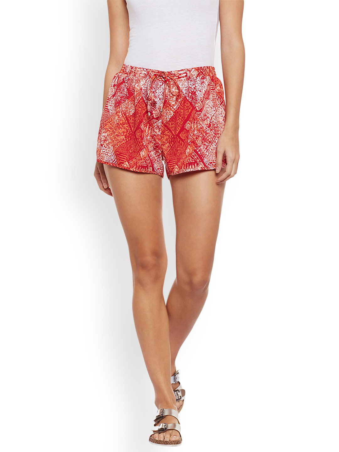 WISSTLER Women Red & White Printed Regular Fit Sports Shorts Price in India