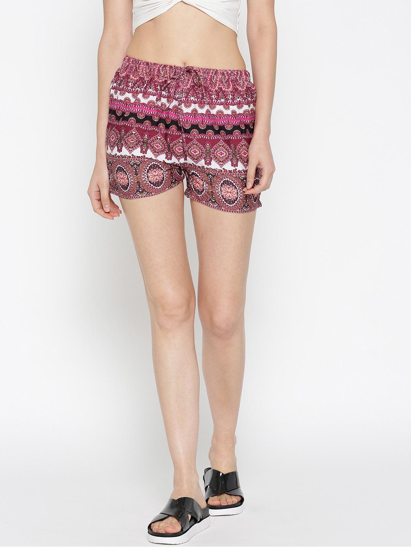 Sera Women Burgundy & White Printed Shorts Price in India