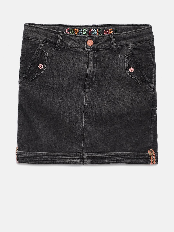 VITAMINS Girls Black Denim Mini Skirt Price in India