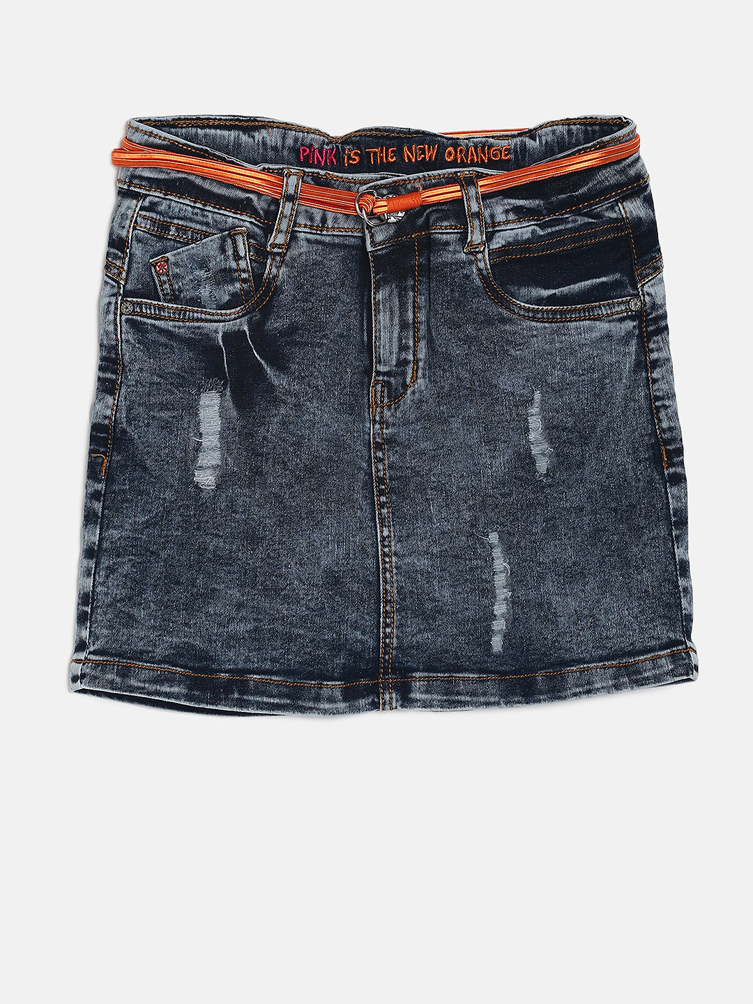 VITAMINS Girls Blue Washed Distressed Denim Skirt Price in India