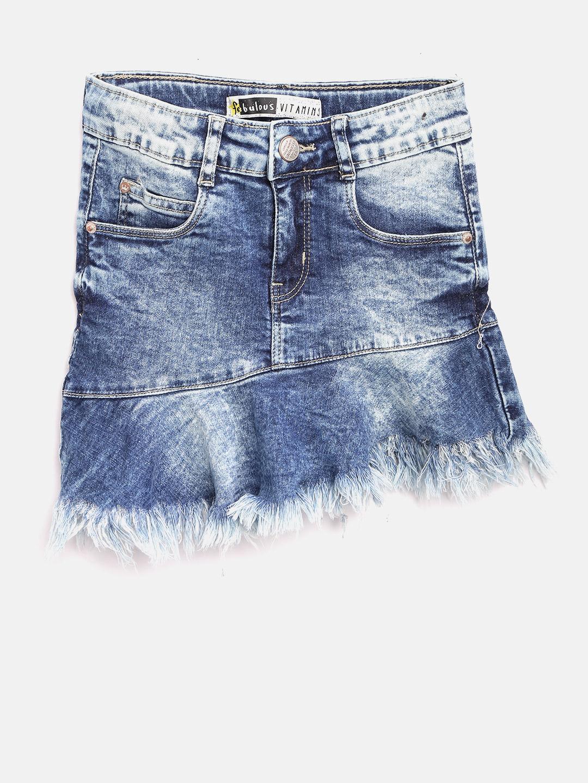 VITAMINS Girls Blue Denim Mini Skirt Price in India