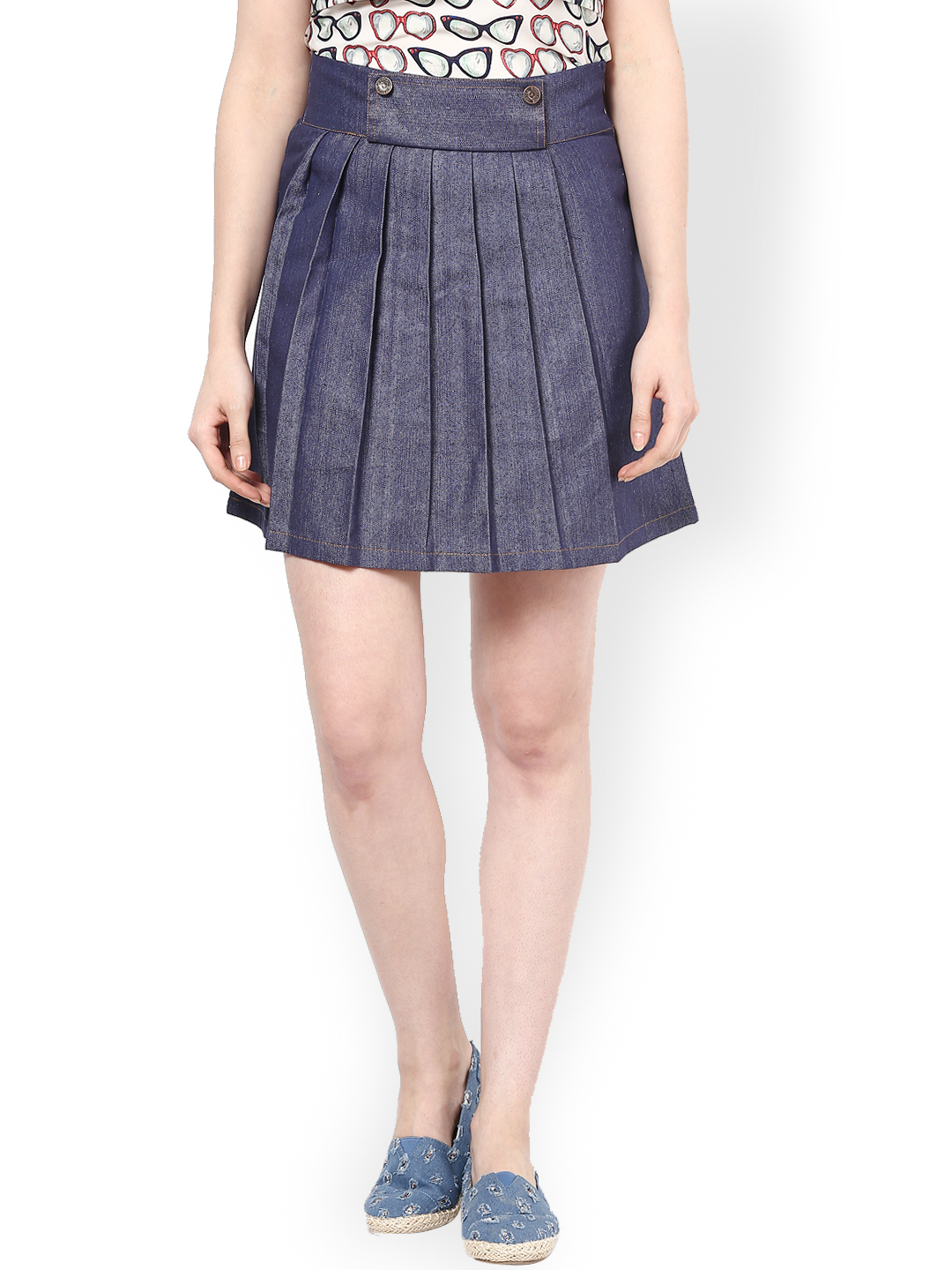 Athena Blue Denim A-Line Skirt Price in India