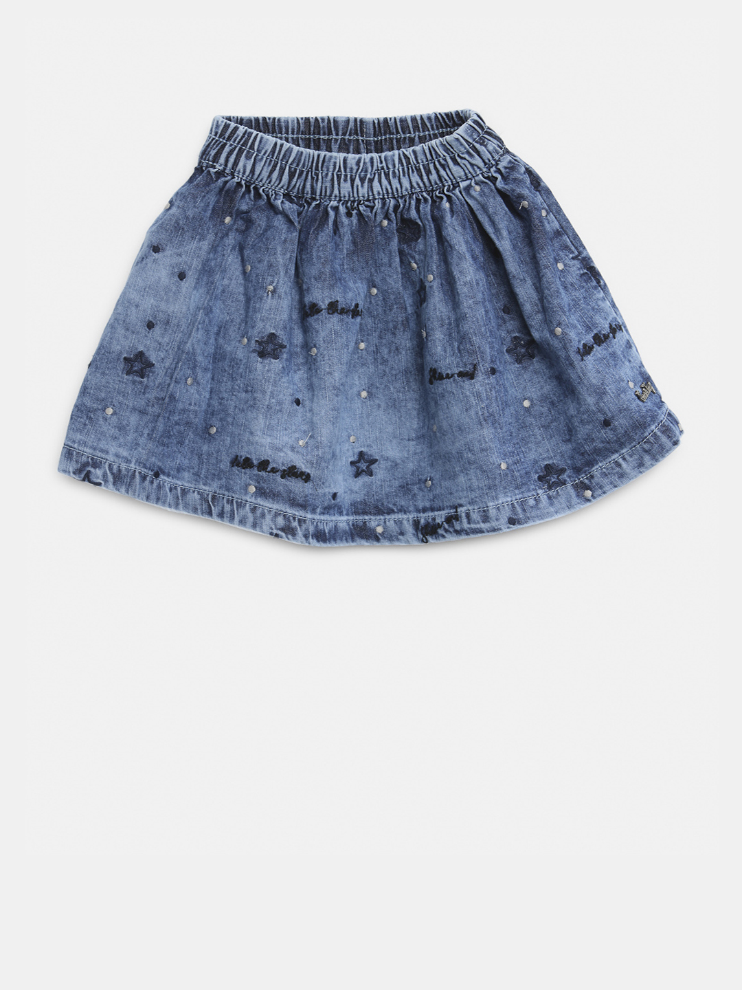 Gini and Jony Blue Denim Embroidered A-Line Skirt Price in India