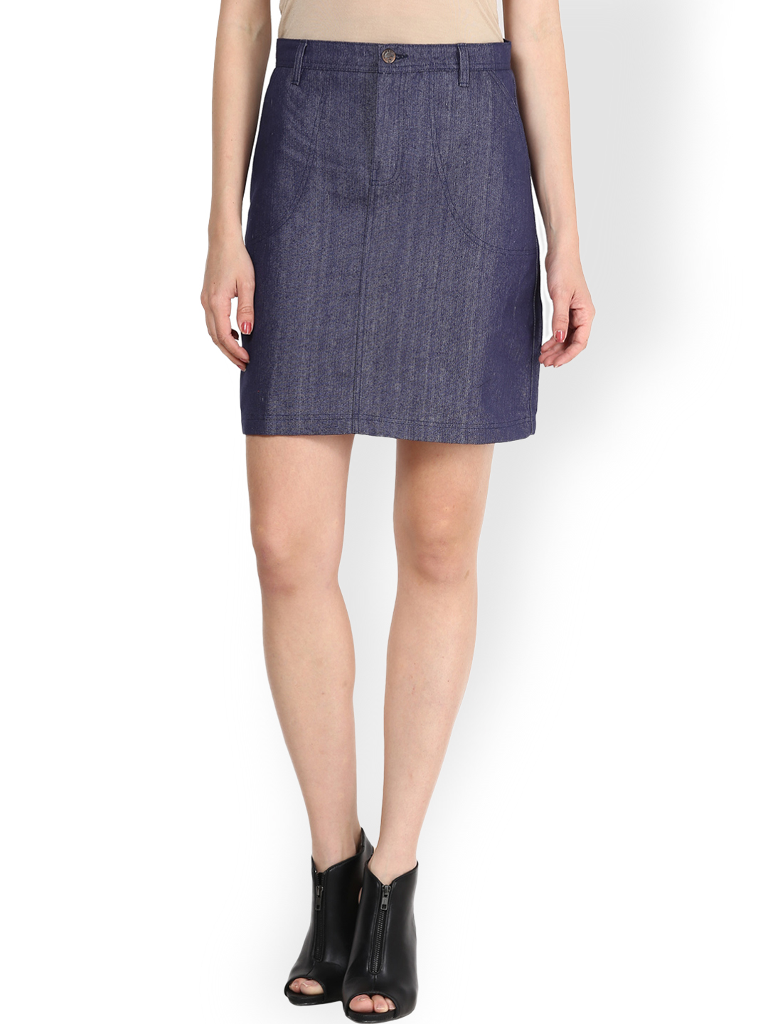 Athena Blue Slim Fit Denim Pencil Skirt Price in India