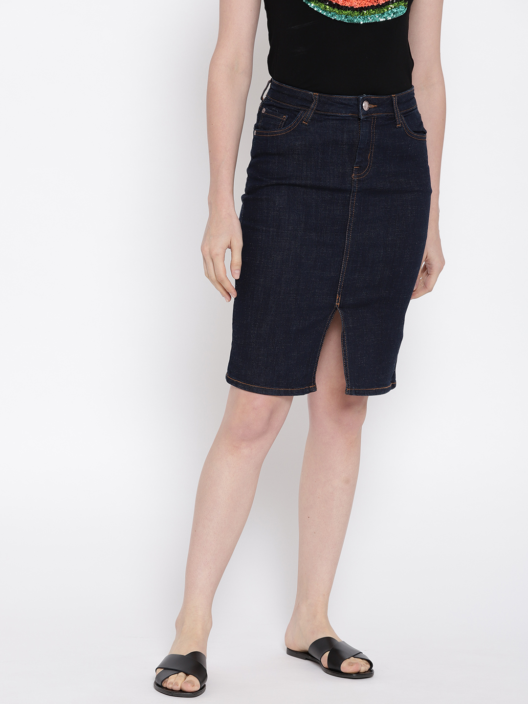 MANGO Women Navy Blue Solid Denim Pencil Skirt Price in India