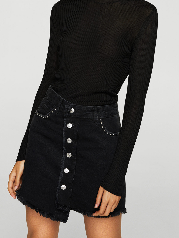 MANGO Navy Blue Denim Mini Skirt Price in India