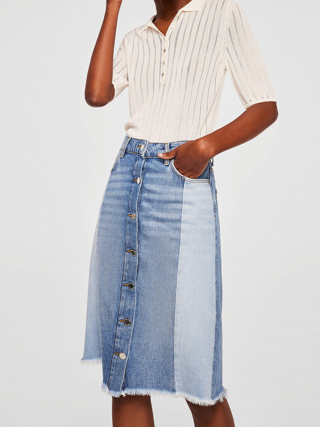 MANGO Blue Panelled Denim A-Line Skirt Price in India