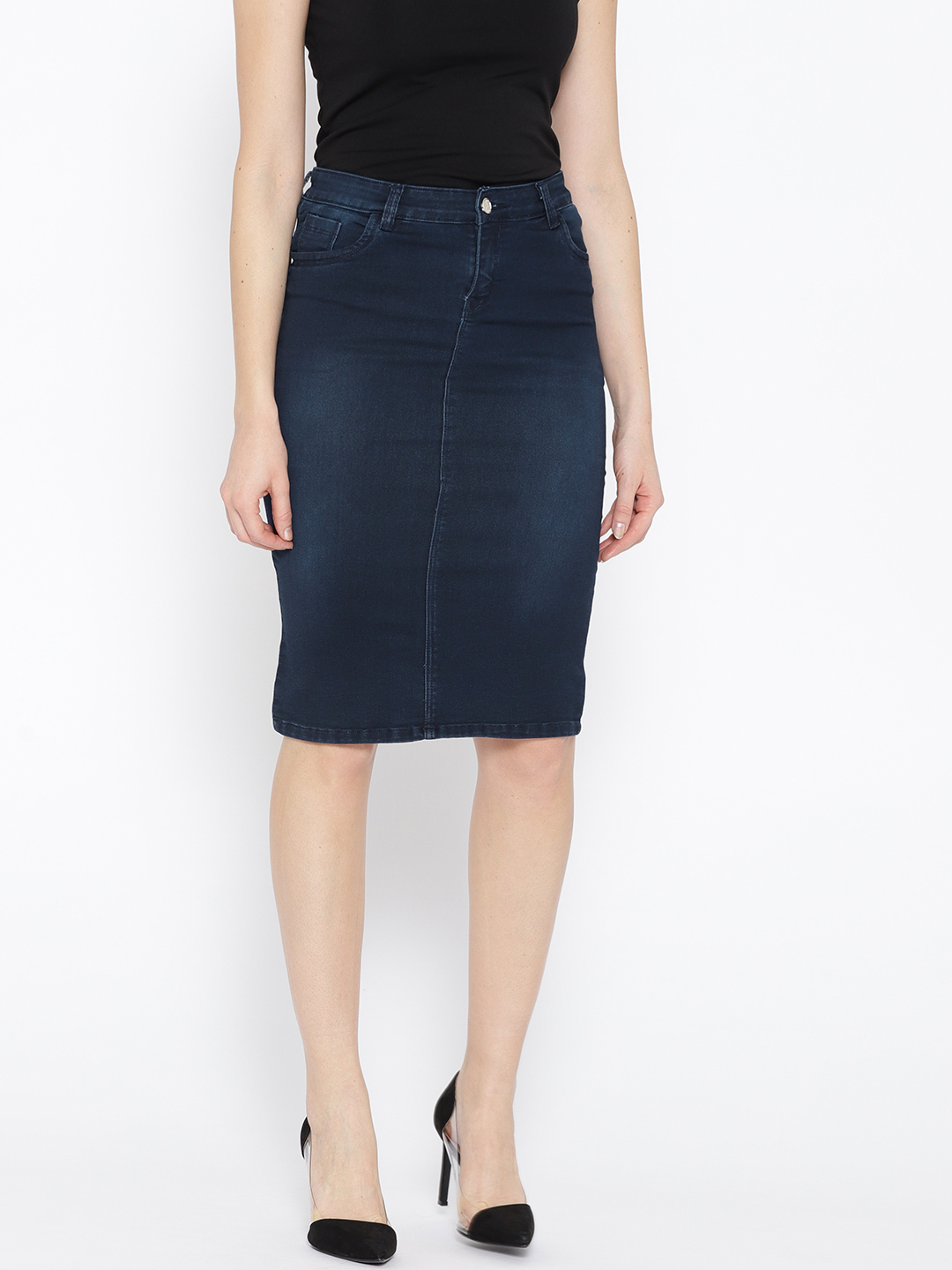 Purple Feather Women Navy Washed Denim Pencil Skirt Price in India
