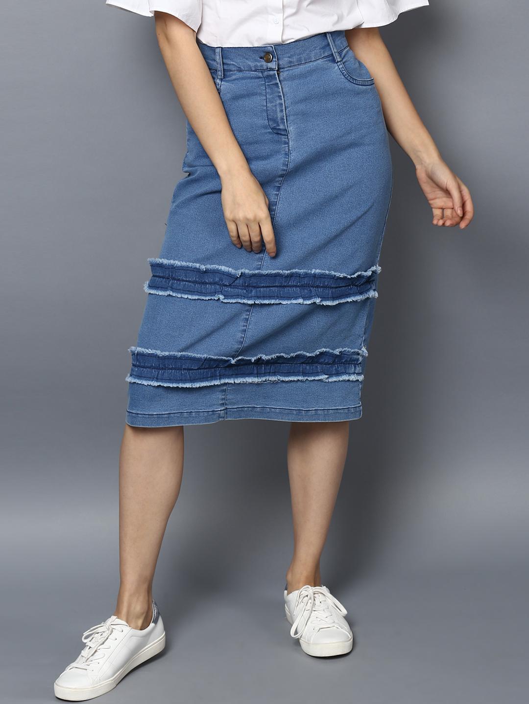 StyleStone Women Blue Solid A-Line Denim Pencil Skirt Price in India