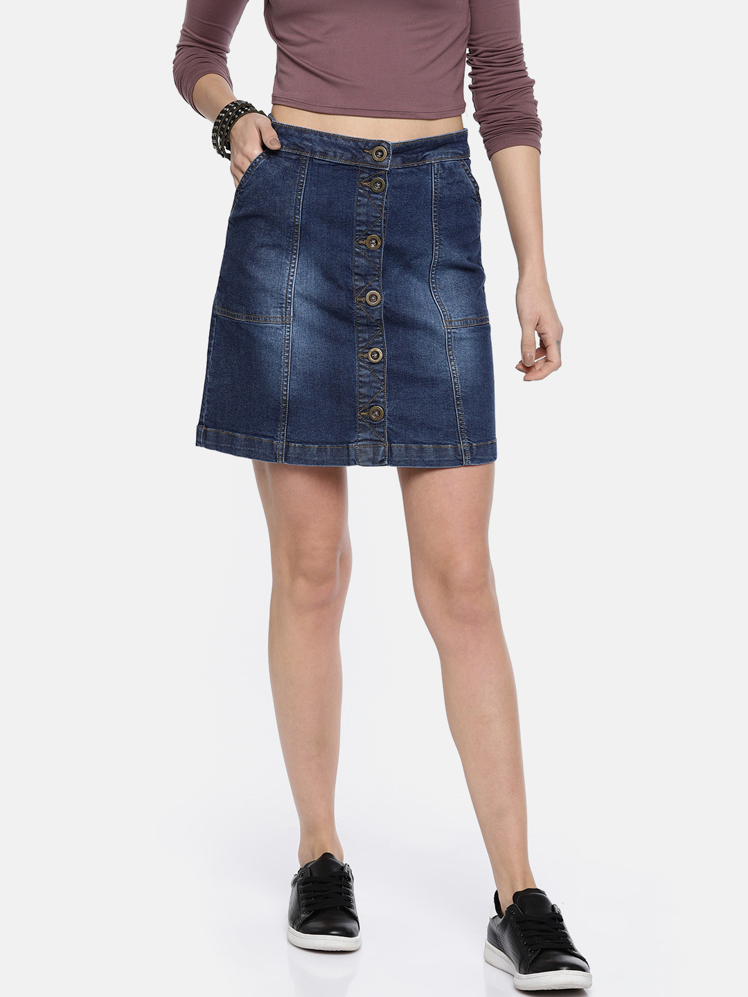 Roadster Women Blue Denim Skirt Price in India