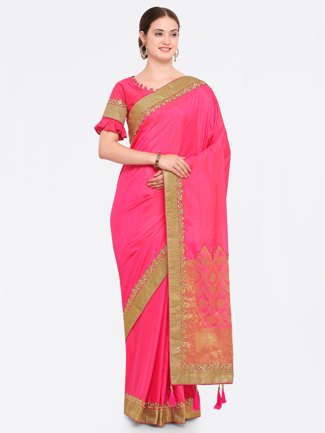 Indian Women Pink Embroidered Poly Georgette Saree Price in India