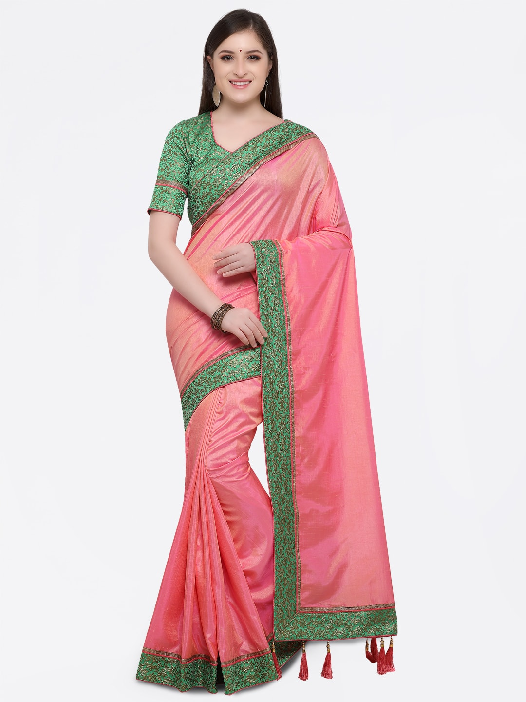 Online Fayda Pink Solid Art Silk Saree Price in India