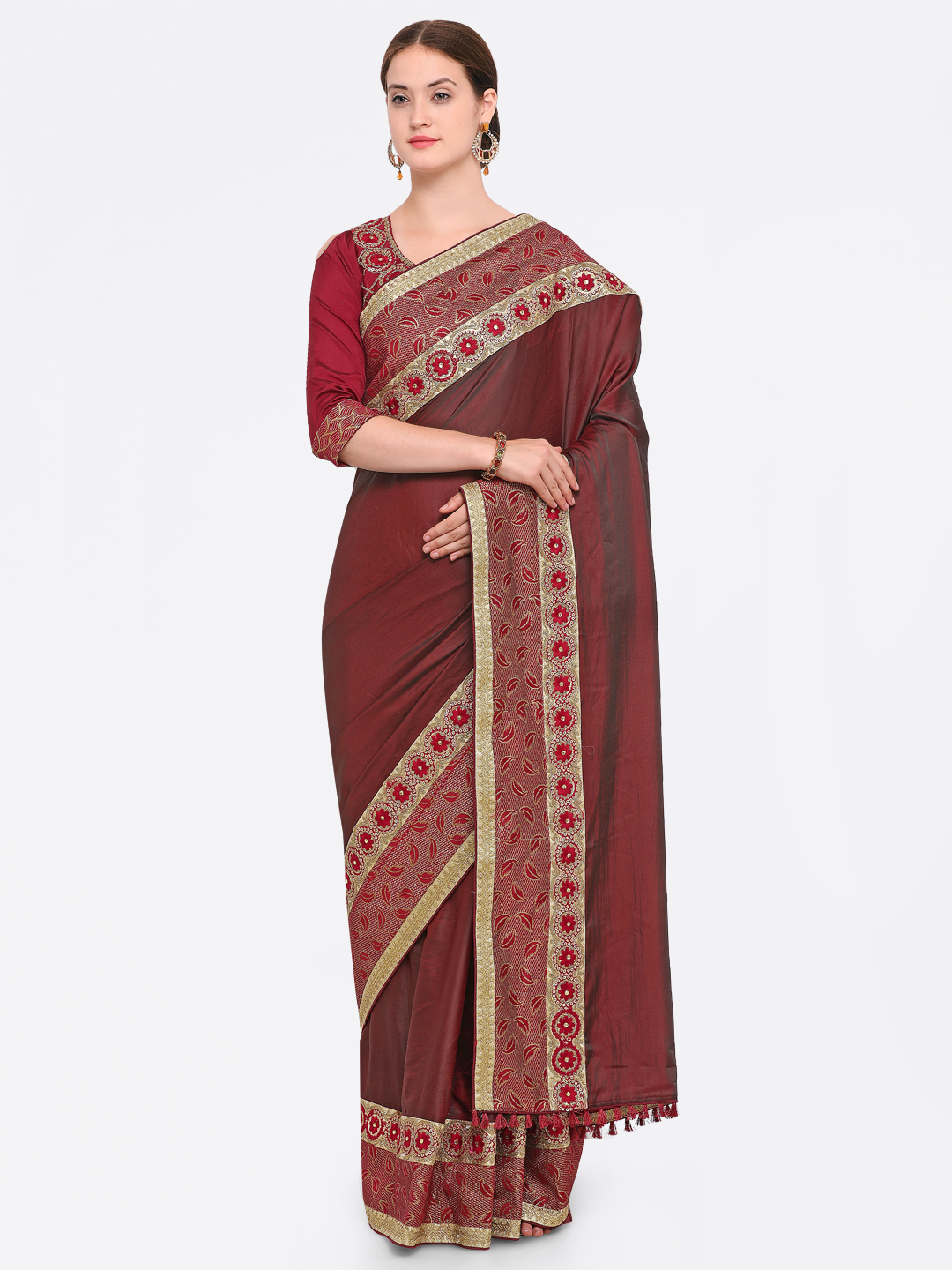 Indian Women Brown & Maroon Satin Embroidered Saree Price in India