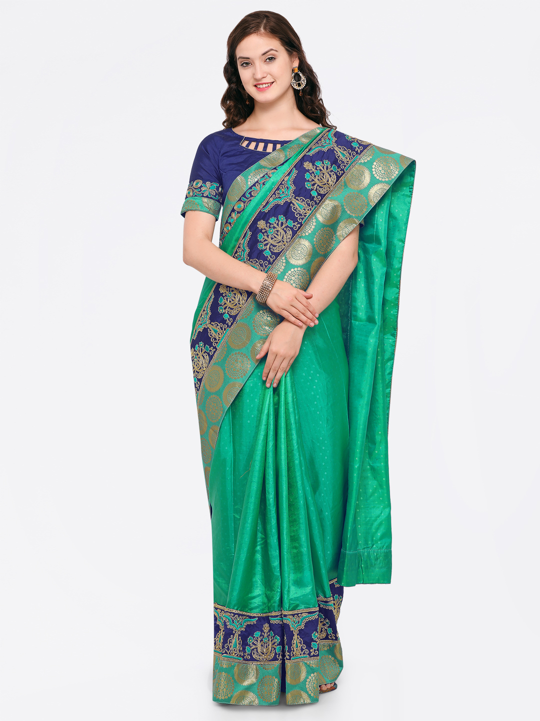 Indian Women Green & Blue Silk Blend Embroidered Saree Price in India