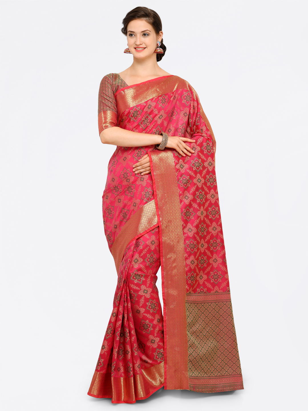 Saree mall Pink Silk Blend Printed Kanjeevaram Saree Price in India