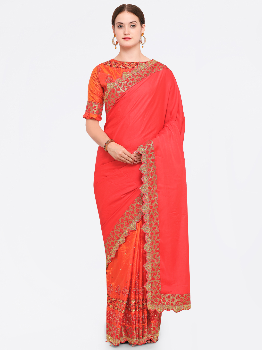 Indian Women Red & Orange Pure Georgette Embroidered Saree Price in India