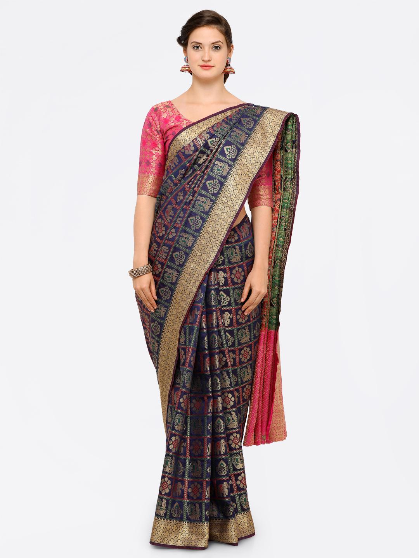 Saree mall Navy Blue Silk Blend Embellished Kanjeevaram Saree Price in India