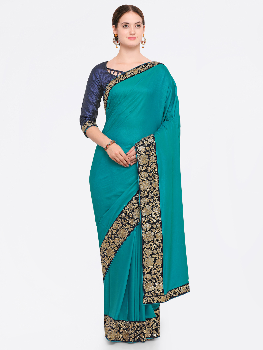 Indian Women Green & Navy Blue Silk Blend Embroidered Saree Price in India