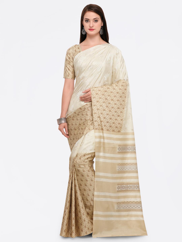 Saree mall Beige & Off-White Silk Blend Printed Saree Price in India