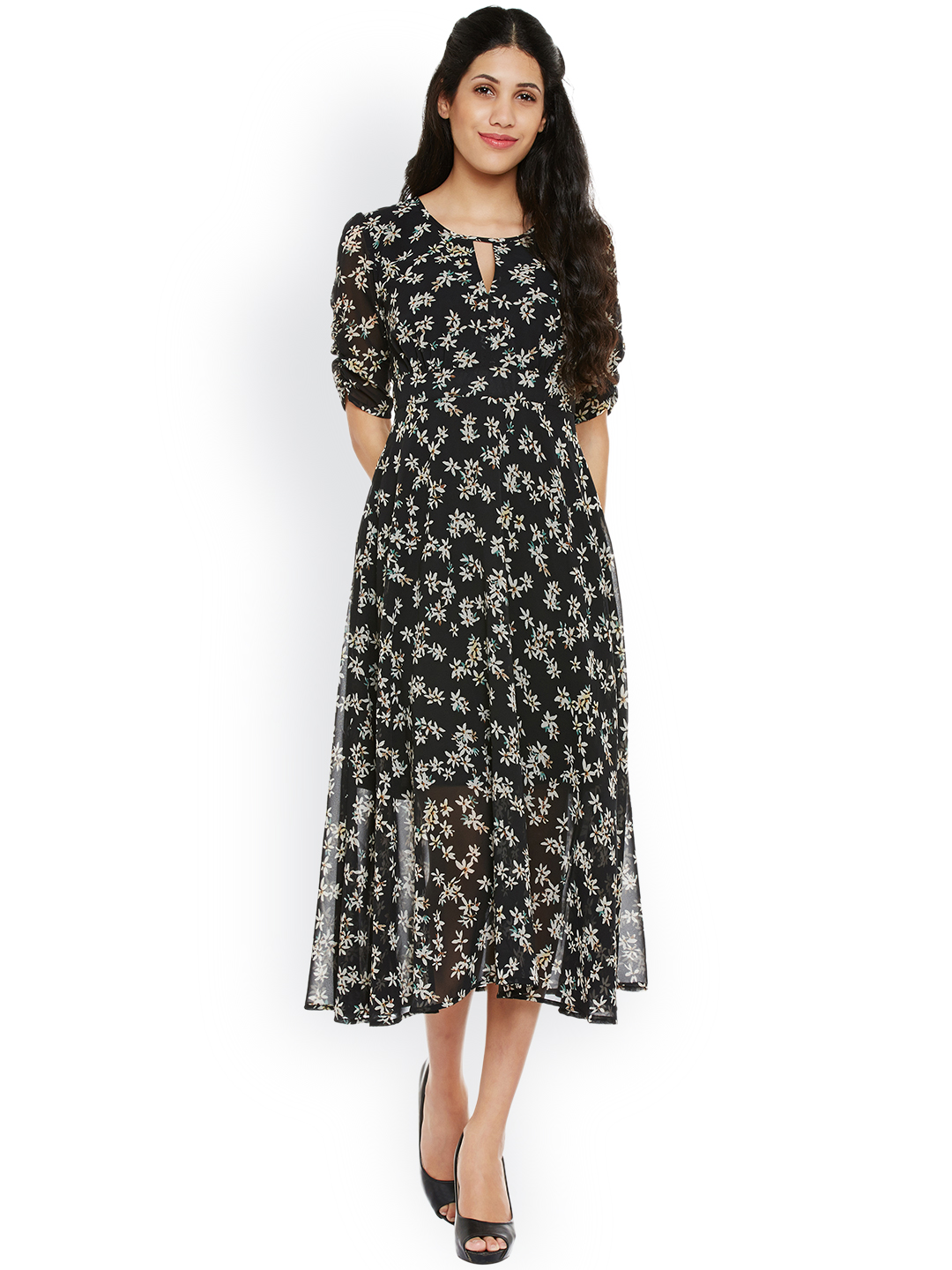 Buy Nun Women Black Floral Print Fit Flare Midi Dress Online