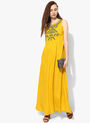1c32b1973a64 Buy Yellow Coloured Embroidered Maxi Dress Online