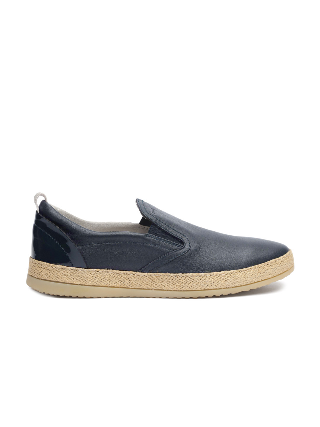 Geox Women Navy Blue Leather Slip-On Sneakers Price in India